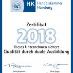 Ausbildungszertifikat der Handelskammer für das Jahr 2018